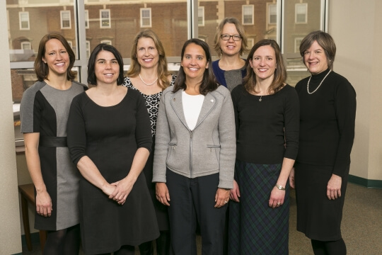 The current all-female team of physicians at St. Luke's OB/GYN (left to right) provide care to women of all ages: Dr. Claire Maloff, Dr. Melissa Miller, Dr. Elisabeth Revoir, Dr. Aimee VanStraaen, Dr. Judith Johnson, Dr. Jennifer Boyle and Dr. Susan Goltz